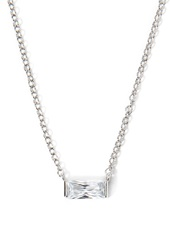 Forever 21 Rectangle Shaped Rhinestone Charm Necklace Silver Clear