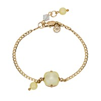 Nadia Minkoff Square Stone And Glass Pearl Bracelet Yellow Sherbet Gold Pink Purple