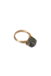 Forever 21 Faux Stone Wire Ring Gold Grey