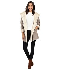 Dylan By True Grit Madison City Faux Sueded Shearling Coat Vintage Grey Natural Women's Coat Gray