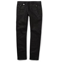 Alexander Mcqueen Slim Fit Studded Waxed Denim Jeans Black
