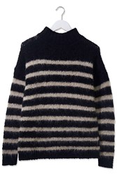 Stripe Fluffy Knit Jumper By Boutique Black