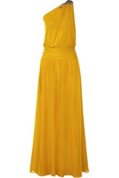 Roberto Cavalli Embellished One Shoulder Silk Georgette Gown Saffron