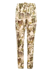 Tomas Maier Palm Print Silk Crepe Trousers