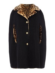 Biba Reversible Leopard And Wool Mix Cape Multi Coloured