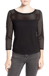 Trouve Women's Dot Cutout Knit Top