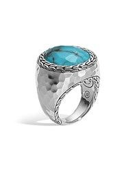 John Hardy Sterling Silver Palu Large Oval Ring With Turquoise Silver Turquoise