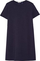 Clu Washed Silk Paneled Stretch Knit Mini Dress Navy