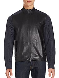 Michael Kors Long Sleeve Colorblock Leather Jacket Black