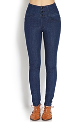Forever 21 Buttoned High Waisted Jeans Indigo