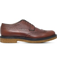 Dries Van Noten Crepe Leather Derby Shoes Tan