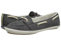 Keds Teacup Boat Wool Shearling Charcoal Women's Slip On Shoes Gray