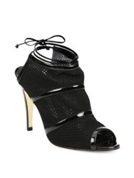 Manolo Blahnik Lavame Mesh And Patent Leather Peep Toe Booties Black