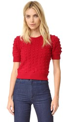 Alice Olivia Blair Bobble Puff Sleeve Sweater Ruby