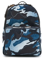 Valentino Garavani Camouflage Denim Backpack Blue
