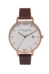 Topshop Olivia Burton Brown And Rose Gold Timeless Ob15tl01 Watch White