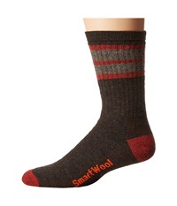 Smartwool Striped Hike Medium Crew Chestnut Moab Rust Men's Crew Cut Socks Shoes Brown