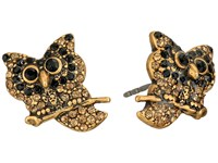 Marc Jacobs Charms Owl Studs Earrings Jet Multi Antique Gold