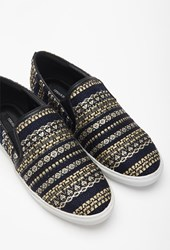 Forever 21 Metallic Embroidered Slip Ons Navy Gold