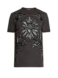 Dolce And Gabbana Flocked Sacred Heart Cotton T Shirt Black Multi