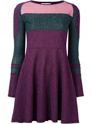 Carven Metallic Panelled Dress Pink And Purple
