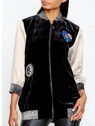 Anna Sui All You Need Is Love Jacquard Bomber Jacket Black