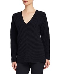 Ellen Tracy V Neck Tunic Top Black
