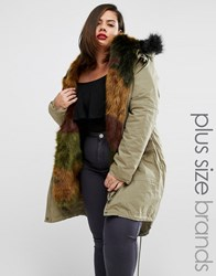 Alice And You Premium Parka With Faux Fur Trim Khaki Green