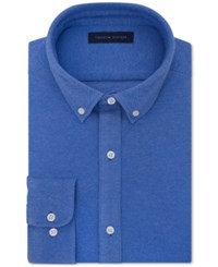 Tommy Hilfiger Men's Fitted Knit Button Down Dress Shirt Royal Blue