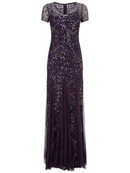 Adrianna Papell Cap Sleeve Beaded Gown Amethyst