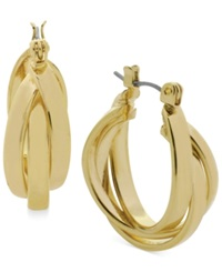 Kenneth Cole New York Gold Tone Twisted Hoop Earrings