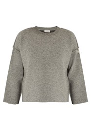 Moncler Wool Crew Neck Sweater Grey