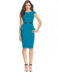 Xoxo Juniors' Cap Sleeve Peplum Sheath Dress Turquoise