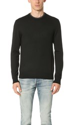 Club Monaco Merino Double Collar Sweater Black Dark Charcoal
