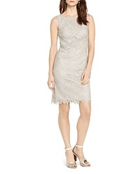 Lauren Ralph Lauren Metallic Lace Sheath Dress Silver Metallic