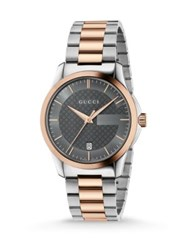 Gucci G Timeless Stainless Steel And Pink Gold Bracelet Watch Silver Rose Gold