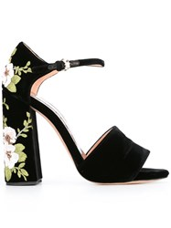 Rochas Floral Embroidery Sandals Black