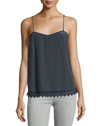 Zadig And Voltaire Sweetheart Scalloped Silk Camisole Charcoal