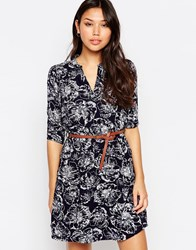 Yumi 3 4 Sleeve Shift Dress In Floral Sketch Print Navy