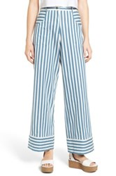 Rachel Antonoff High Rise Crop Flare Cotton Pants Blue