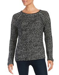 Vince Camuto Mohair Blend Marble Cable Stitch Sweater Rich Black