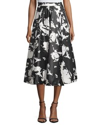 Romeo And Juliet Couture Printed Midi Skirt W Pleats Black White