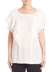 Kobi Halperin Kerry Embroidered Silk Peasant Blouse Ivory