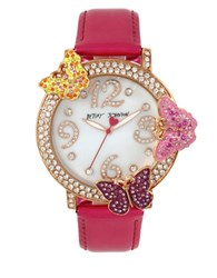 Betsey Johnson Goldtone Stainless Steel And Leather Butterfly Strap Watch Pink