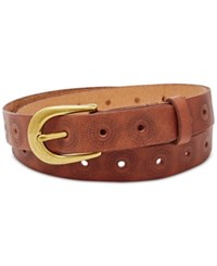 Fossil Floral Perforated Embossed Belt Brown