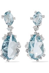 Alexis Bittar Sterling Silver Quartz And Sapphire Clip Earrings Blue
