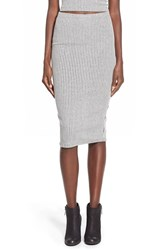 Junior Women's Lily White Rib Knit Midi Skirt Grey