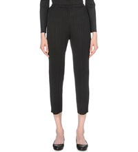 Issey Miyake Slim Fit Cropped Pleated Trousers Black