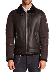 The Kooples Long Sleeve Leather Puffer Jacket Black