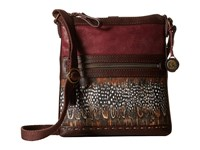 The Sak Pax Swing Pack Cabernet Feather Patch Cross Body Handbags Brown